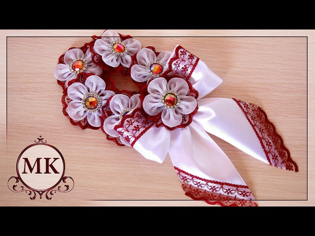 Резинка на пучок МК DIY Kanzashi Flower Bun Garland Headband Hair Bun Scrunchies Headband