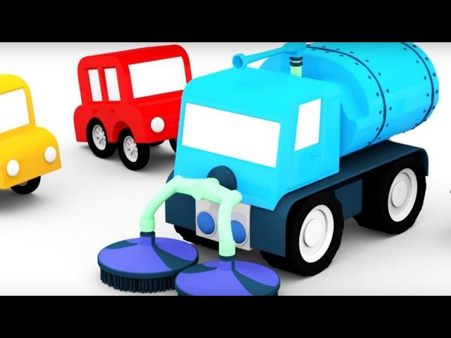 Dessin animé en français pour enfants de 4 voitures: construction d'une balayeuse