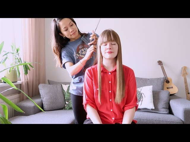 ASMR Haircutting ~ Scissors, Brushing, Head Massage, Cutting and Ear to Ear Whisper