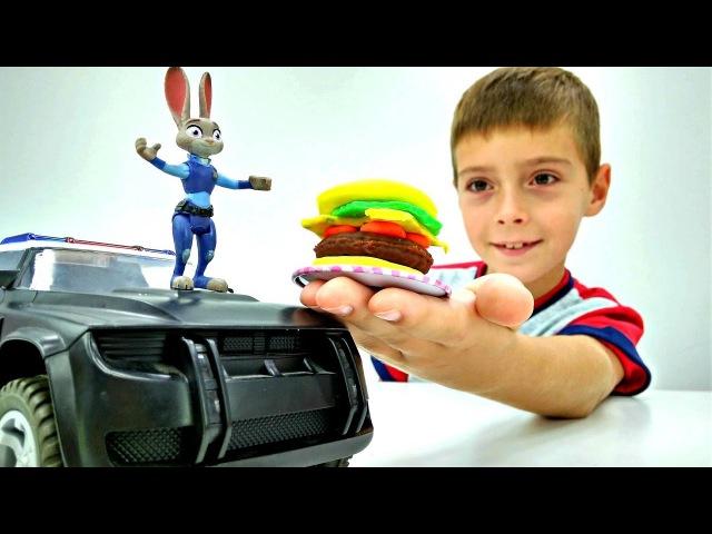 Видео для Детей 🍔 СУПЕР БУРГЕР для Джуди Хопс Зверополис Игры готовить Пласти