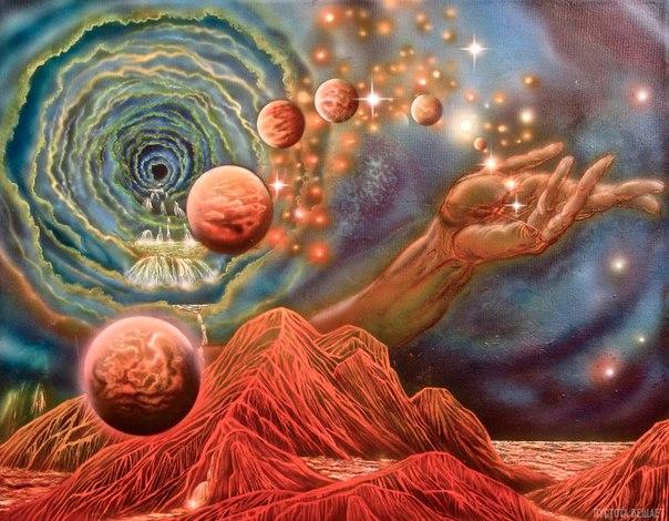 Растущая Вселенная словно бутон распускается из центра Земли и несет в