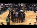 The Raptors starting lineup was introduced with the Barney theme song in Milwaukee