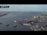 Беспилотник заснял спуск на воду ледокола Сибирь в Санкт-Петербурге