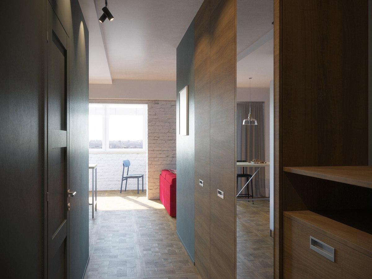 Проект квартиры 34 м под лофт.