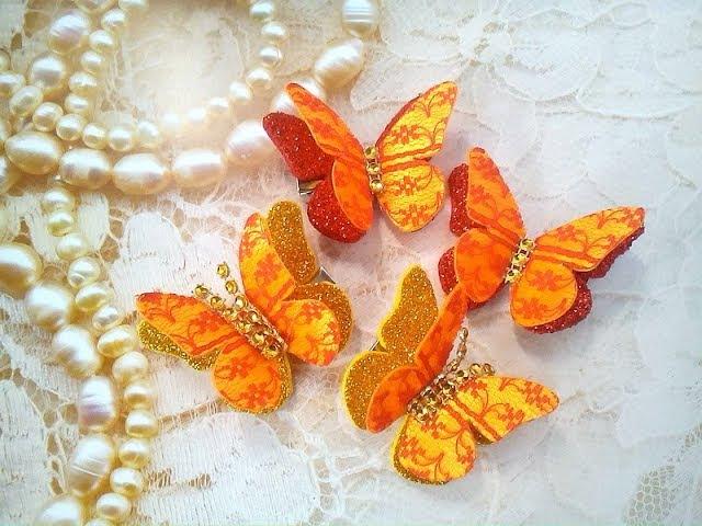 Бабочка из лент и фоамирана Мастер класс