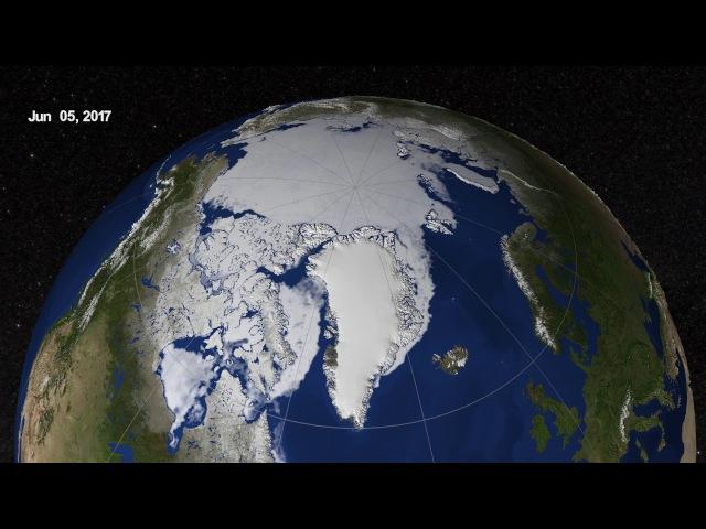 Таяние ледников Арктики март-сентябрь 2017