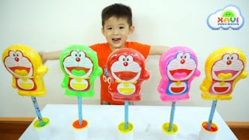 Learn Colors with Giant Candy Doraemon and Baby Xavi-Learn colours with Nursery rhymes for children