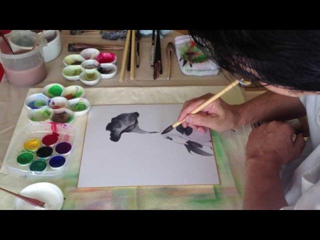 佐々木経二 水墨運筆で朝顔を描く_日本画光玄会展(ギャルリー小川1228