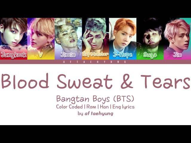 BTS (방탄소년단) - Blood Sweat Tears (Color Coded LyricsEngRomHan)