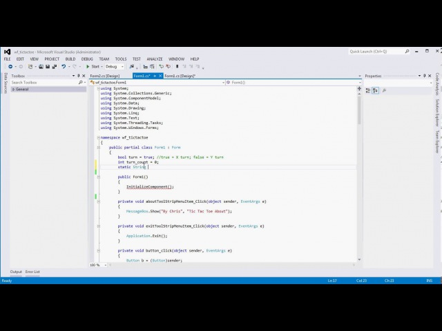 (Part 3) Visual Studio Winform Tic Tac Toe Tutorial Example (C)