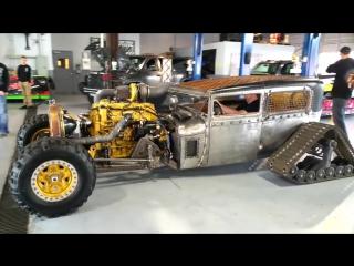 Крутой Hot Rod с дизельным двигателем Caterpillar