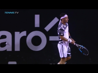 Fabio Fognini throws tennis racquet at wall and it gets stuck - 2017 ATP Rio Open