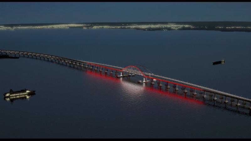 Вид на ночной Крымский мост. Крымская весна 2017