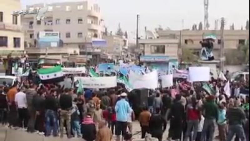 Марш в Азазе в поддержку восточной Гуты в окружении Асада, Путина, Хезболлы, иранского КСИР