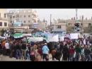 Марш в Азазе в поддержку восточной Гуты в окружении Асада Путина Хезболлы иранского КСИР