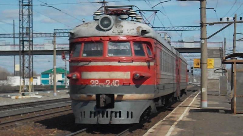 Электромотриса ЭР9П-240. Отправление от Присягино.