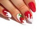 Клубничка в сливках ТОП Красивый и простой летний дизайн ногтей
