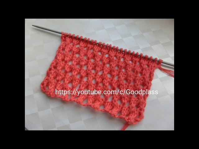 Ажурный узор Сетка. Вязание спицами.Knitting(Hobby).