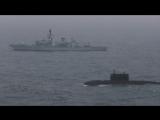 HMS Somerset escorts Russian submarine