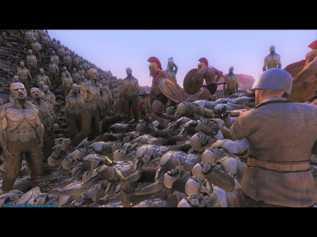 300 Spartans 5 US Marines Chuck Norris vs Zombies Orcs Giants Ultimate Epic Battle Simulator