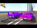 BeamNG.drive - Chained Cars against Bollard 2