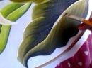 Pintura en tela hojas con cony