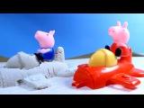 Свинка Пеппа Peppa Pig. Пеппа и Джордж делают самолётик из песка. Развивающий мультик.