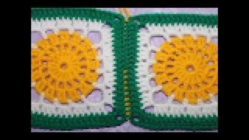 Соединение мотивов крючком Способ 2 с изнаночной стороны соединительными столбиками