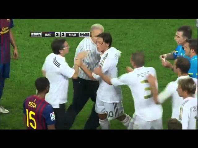 Mourinho Pulls Vilanova Ear Marcelo hacks down Fabregas Ozil Villa Red Card