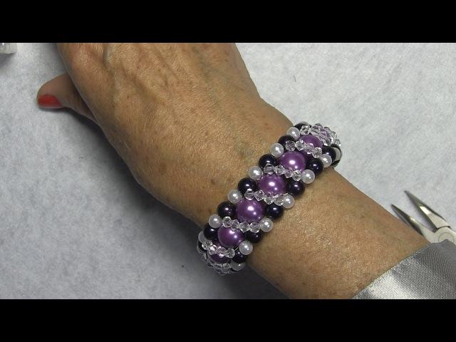 DIY - Pulsera para el dia de la madre de perlas lilas y cristalitos
