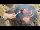 Куры горячего копчения в самодельной коптильне из кастрюли
