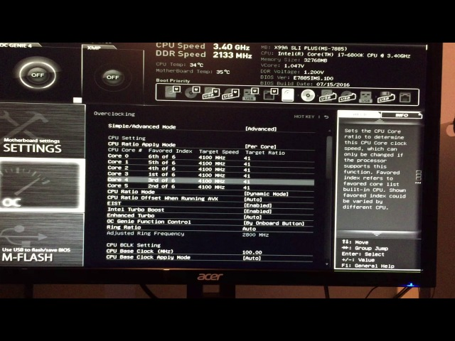 I7 6800K overclocking on a MSI X99A SLI Plus Motherboard
