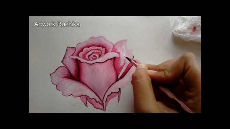 Pink Rose Painting Step-by-Step | Rose Flower Painting