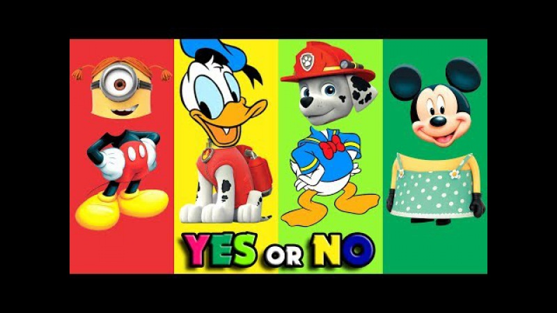 Colors for kids to with Wrong heads Paw Patrol minon mickey donald   Kids smile finger family song