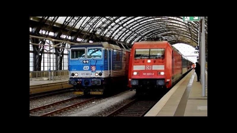 Výměna lokomotiv ve stanici Dresden Hbf (ČD 371 vs DB 101)
