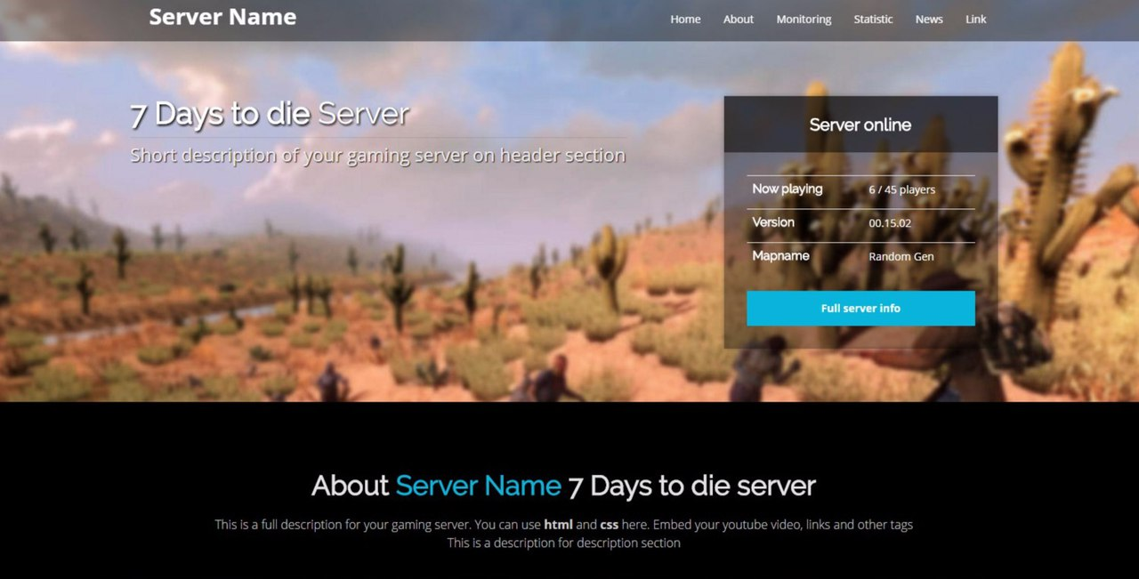 Days To Die Server Website Script With Monitoring - Information website template