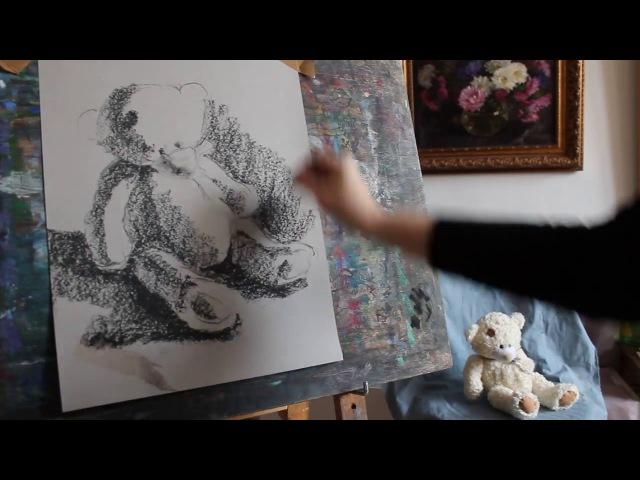 Учимся рисовать. Художественная школа. Пастель для начинающих. Мишка
