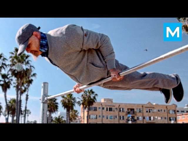 Old Man Street Workout Prank   Muscle Madness