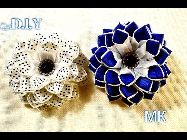 Школьные бантики/Цветы канзаши/New Flowers Kanzashi/D.I.Y/Tutorial