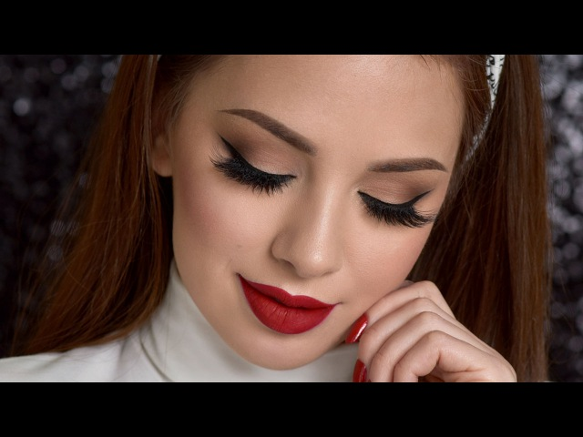 Neutral Smokey Eye Red Lips Makeup Tutorial