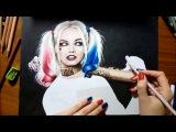 Speed Drawing Margot Robbie as Harley Quinn  Jasmina Susak Desenho Arlequina #drawing
