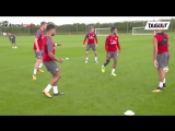 Alexis Sanchez joins Arsenal players in training ahead of this Sundays game against Liverpool.