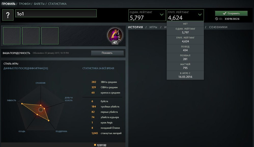 Sell account Dota 2 5797 solo mmr / 4624 party mmr + Rocket