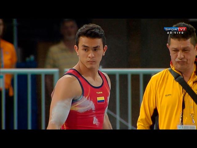 Панамериканские игры 2015. Спортивная гимнастика. Мужчины. Индивидуальное многоборье. Йоссимар Кальво (Колумбия, бронза) - брусь