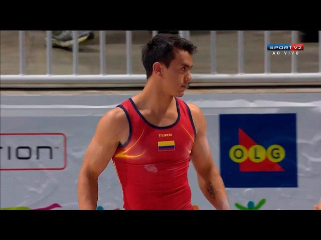 Панамериканские игры 2015. Спортивная гимнастика. Мужчины. Индивидуальное многоборье. Йоссимар Кальво (Колумбия, бронза) - опорн