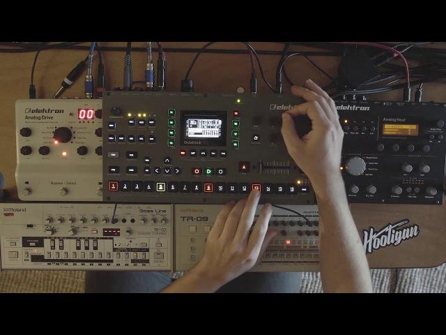 Elektron Octatrack MKII Live resampling the Roland TB03 TR09