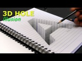Drawing of a hole letter A in line paper/ 3D Trick Art Optical Illusion