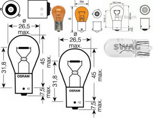 Лампа накаливания, стояночный / габаритный огонь для AUDI CABRIOLET (8G7, B4)