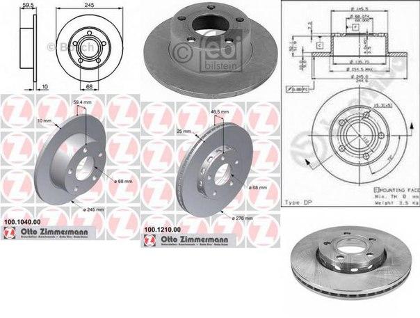 Тормозной диск для AUDI QUATTRO (85)