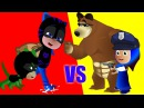 PJ masks cartoon vs Masha and the bear danger fight cartoon for kids fun video forr babies